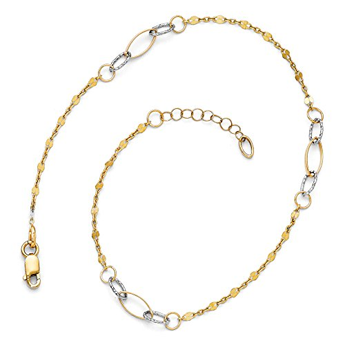 Black Bow Jewelry 14k Two Tone Gold Polished & Textured Oval Station Anklet, 10 11 Inch