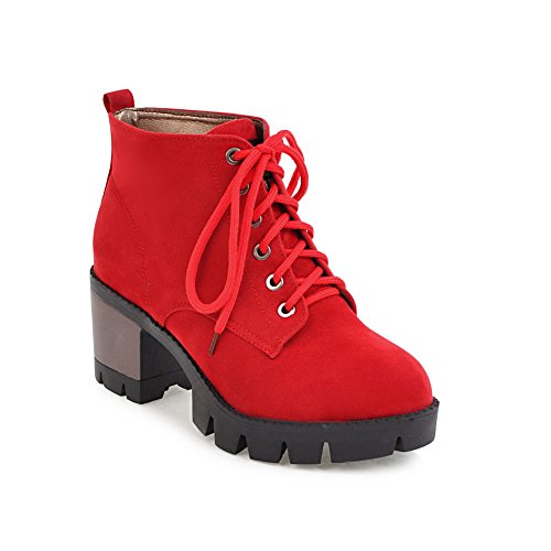 Womens Red Boots Platform Suede Slip Fashion BalaMasa Resistant ABL10080 ZzqwWdO