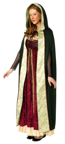 [Rubie's Costume Deluxe Hooded Camelot Cape, Green, Standard Costume] (Halloween Costumes Renaissance)