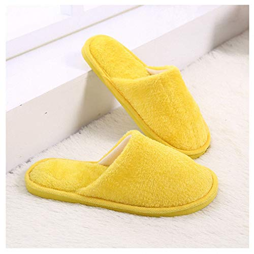 (Tinpia Womens Home Women Slippers Indoor Bedroom House Soft Cotton Warm Shoes Women's Slipper Female Flats S304 Yellow One 7)