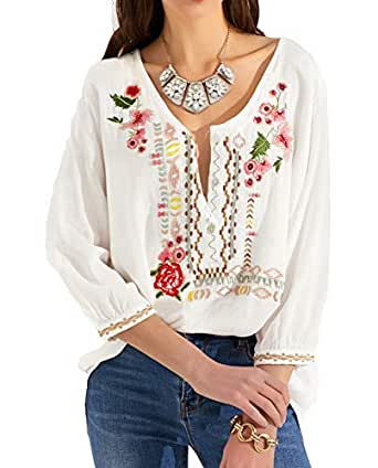 MANSY Womens Embroidered Boho V Neck Loose Mexican Peasant Shirts Tunics for Women Tops Blouses - - Small