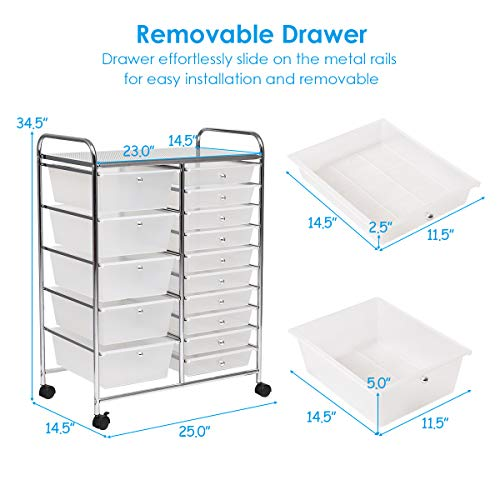 Giantex 15 Drawer Rolling Storage Cart Tools Scrapbook Paper Office School Organizer, Clear by Giantex (Image #4)