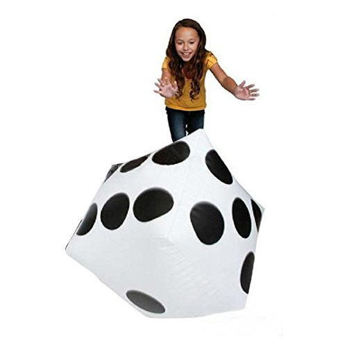 Dartphew Toys,Dartphew 1Pcs 32cm Large Inflatable Dice Toy,Great party favors/outdoor toys/pool toys,White with black spots,for Kids Baby Children(Size:Approx. 32cm x 32cm)