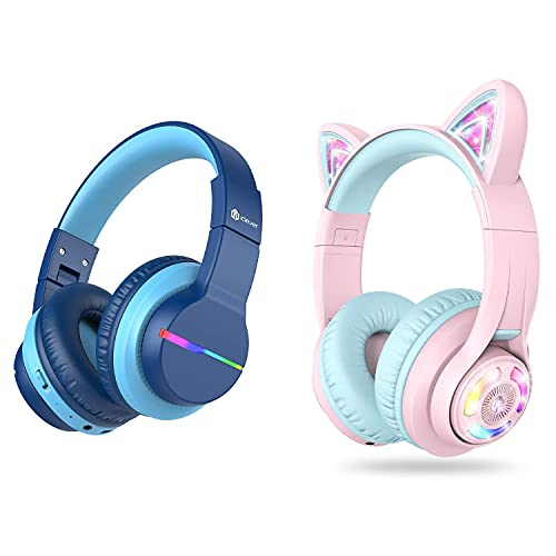 iClever BTH12 Kids Wireless Headphones and BTH13 Cat Ear Kids Bluetooth Headphones Bundle, Kids Headphones with…