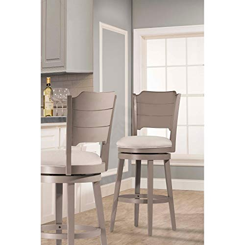 - Hillsdale Furniture 4541-830 Hillsdale Clarion, Distressed Gray Wood Finish Swivel Bar Stool, Height
