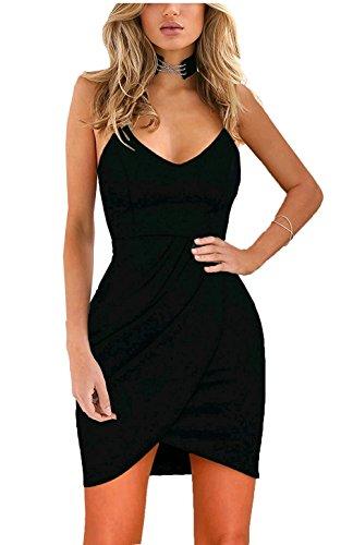 Sling Collar Cocktail Dress Black Various Sexy Short Hem Notch Women Coolred Bodycon wCqRBX0Bx