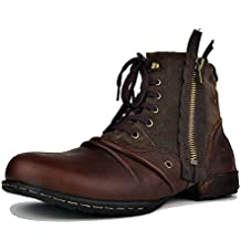 OTTO ZONE Leather Cowboy Boots for Men Fashion Chukka Boots Casual Shoes Zipper-up by OZ-5008-8
