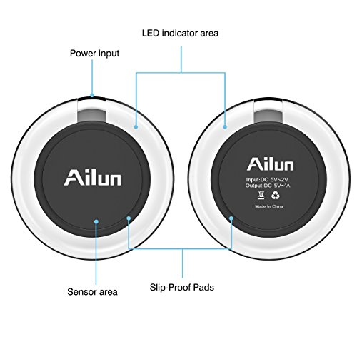 Wireless charger,by Ailun,Ultra-Slim&Protable,Slip-Proof Pad,Universal for All Qi-Enabled Devices,Galaxy S7/S7 Edge,S6/S6 Edge/S6 Active,Note 5,Nexus 7/6/5/4[Crystal Clear] by AILUN (Image #3)