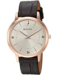 Womens Diamonds Quartz Stainless Steel and Leather Casual Watch, Color:Brown (