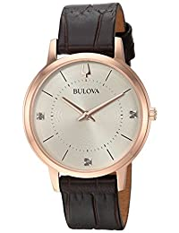 Bulova Women's 'Diamonds' Quartz Stainless Steel and Leather Casual Watch, Color:Brown (Model: 97P122)