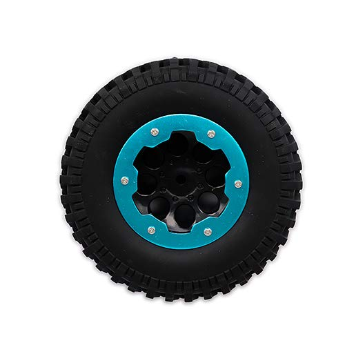 BeesClover RC CAR 4 x 100mm Air-Filled Inflated 1.9 Bead Lock Wheel Tire Terrain Mud Tread for 1:10 Rock Crawler Monster Truck Blue