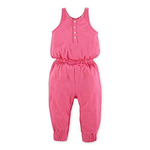 Ralph Lauren Baby Girls Crocheted Cotton Romper (6 Months, Blaze Fuschia)