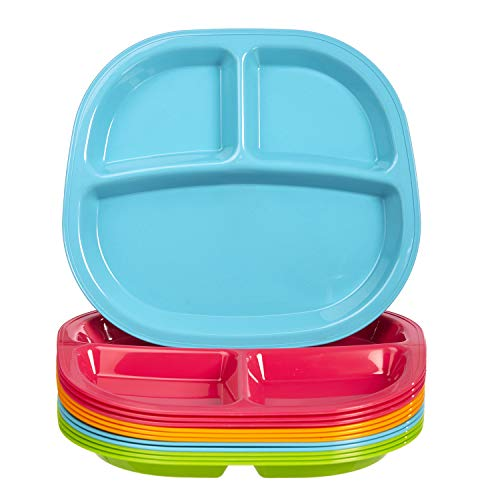 Harmony 3-Compartment Divided Plastic Kids Tray | set of 12 in 4 Calypso Colors ()
