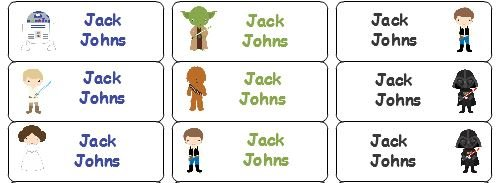 30 Personalized Waterproof Name Labels Star Wars Labels Name Labels Personalized Name Labels Personalized Tags Favor Tags Daycare -