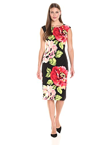 London Times Women's Cap Sleeve Placed Floral Midi Length...
