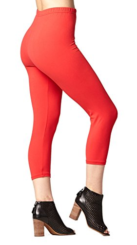Conceited Premium Ultra Soft Women's Capri Cropped Leggings - High Waist - 20 Colors 2 Sizes Plus Size (12-24), Red