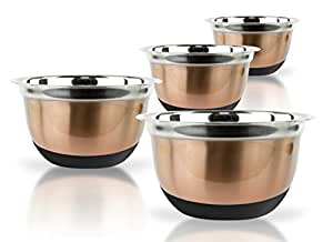 4 Pcs Stainless Steel Mixing Bowls Set - Set of 4 German Mixing Bowls Cookware Set (Copper Silicone Bottoms)