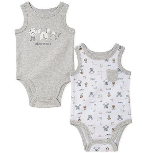 absorba Baby 2 Pack Bodysuit Boys, Gray 6-9 Months ()