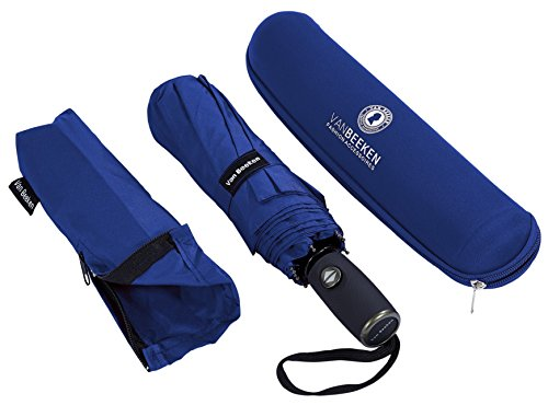 VAN BEEKEN Umbrella Windproof I Wind Resistant Travel Umbrella with Teflon I Light Compact Umbrella I Mini Umbrella Portable Folding Umbrella for Men Women (Blue)