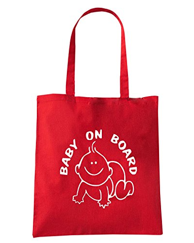 T-Shirtshock - Bolsa para la compra FUN0665 baby on boad decal 34038 Rojo
