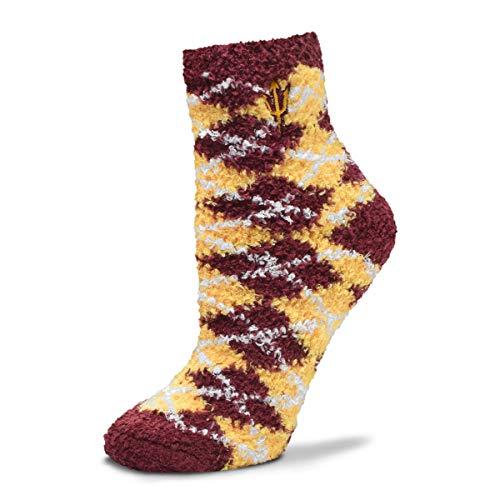 For Bare Feet NCAA Argyle Fuzzy Sleep Socks (Arizona State Sun Devils-Pitchfork, Medium)