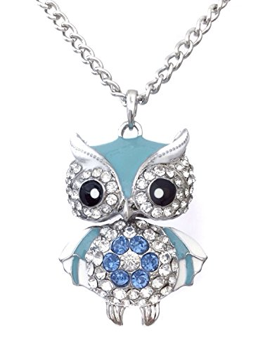 Cute Light Blue Enamel Rhinestone Owl Silver Tone Long - Jewel Tone Necklace