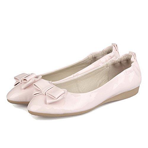 Femme Couleur À Chaussures Rose Plat Talon Non Unie Tire Agoolar Rond B6PqO