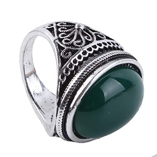 Iumer Women Alloy Ring Imitation Agate Oval Vintage Flower Engagement Wedding Bridal Ring,Green,7#