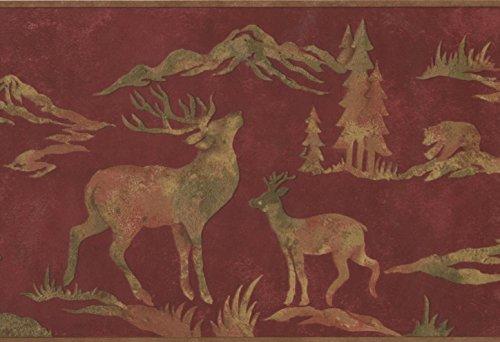 Wildlife Outdoors Moose Deer Elk Silhouettes Maroon Wallpaper Border Retro Design, Roll 15' x 9