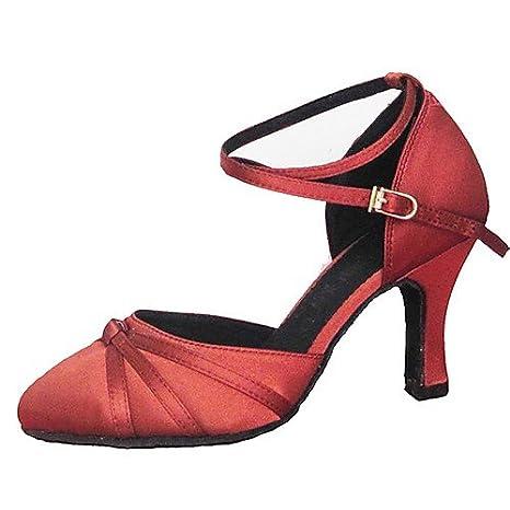 Da Ballo Donna In T Ballroom Q Scarpe Moderne Tacco Giallo t Raso OymN0wv8n