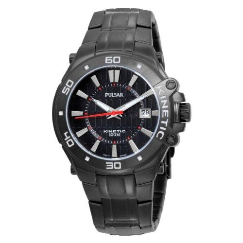 Pulsar Men's PAR149 Kinetic Black Ion Finish Bracelet Black Ion Finish Case Black Dial Transparent Case Back Watch