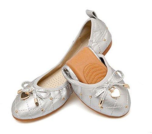 Flats Shoes Rhinestone Wedding Comfort Silver Foldable Womens Ballet PEqFqH