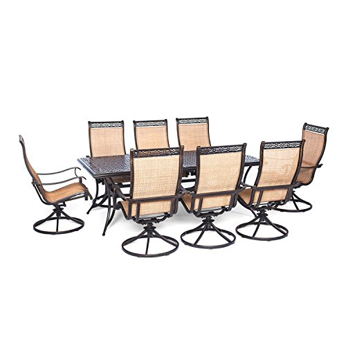 Hanover Manor 9 Piece Outdoor Dining Set with Eight Swivel Rockers For Sale