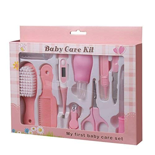 Baby Health Care Kit (Boy & Girl) Deluxe Nail Clipper, Nail File, Scissors, Tweezers, Nasal Aspirator, Dropper Feeding, Digital Thermometer, Comb, Hair Scrubber, Fingertip Toothbrush (10 Pcs) - Pink from Mojoe