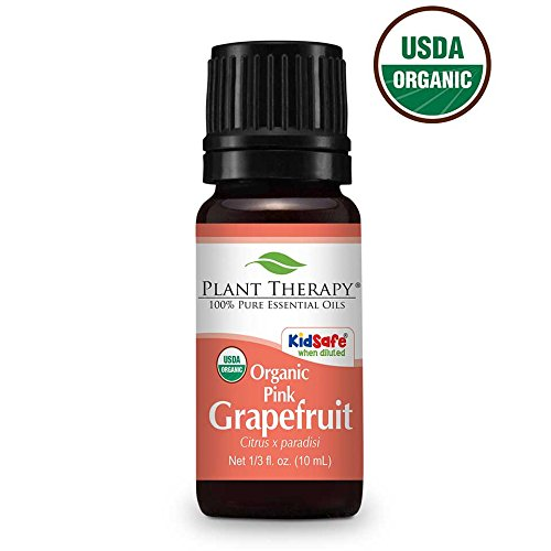 Plant Therapy Grapefruit Pink Organic Essential Oil 10 mL (1/3 oz) 100% Pure, Undiluted, Therapeutic Grade (Grapefruit Oil Essential Organic Pure)