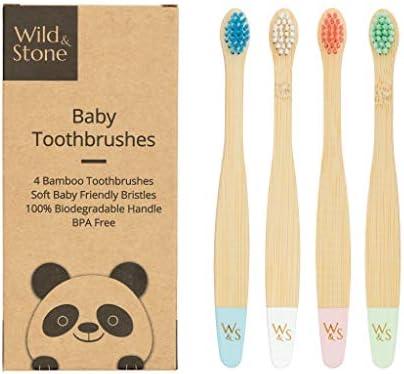 Biologische baby bamboe tandenborstelVier kleurenZachte vezelharen100 biologisch afbreekbaar handvatBPA vrijVeganistische en milieuvriendelijke babytandenborstels van Wild Stone