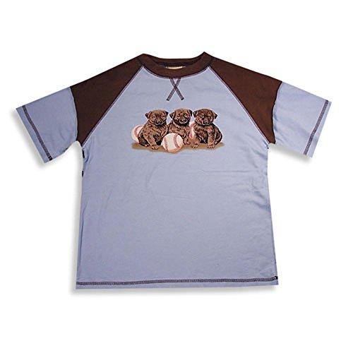 Dogwood Clothing - Little Boys Short Sleeve Baseball Style Tee Shirt, Light Blue, Brown 11646-10