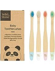 Biologische baby bamboe tandenborstel   Vier kleuren   Zachte vezelharen   100% biologisch afbreekbaar handvat   BPA vrij   Veganistische en milieuvriendelijke babytandenborstels van Wild & Stone