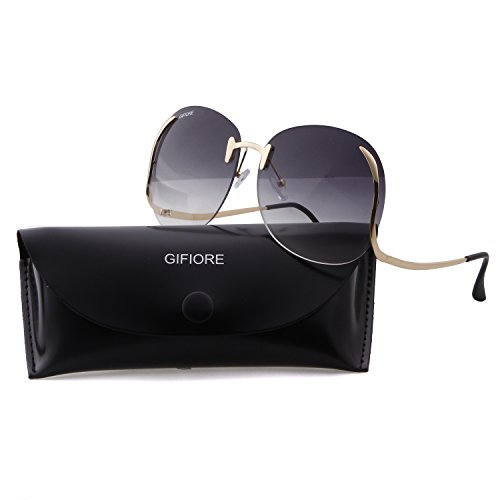 Oversized Round Sunglasses For Women Clear Lens Rimless Mirror Circle - Circle Mirror Oversized