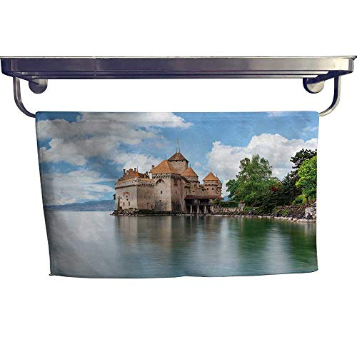 """Leigh home Sports Ttowel,View Famous Chateau de chillon at Lake Geneva one switzerl ,Ultra Soft, Cozy and Absorbent W 35.5"""" x L 12"""""""
