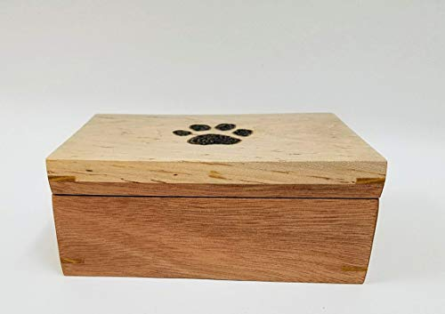 Burning Wooden Bracelets (Dog Print Burned into the top of this great looking Mahogany and Maple Top Box. Magnets secure the top as well as a chain. Great Gift Idea !)