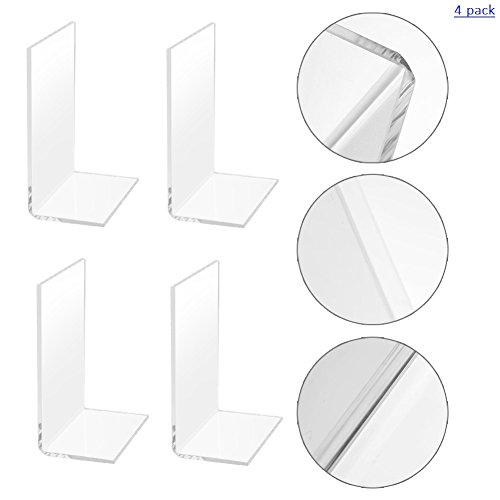 Non-Slip Bookends, MerryNine 2 Pairs Clear Design Plastic Acrylic Bookends Decorative Gift for Bookshelf Office School Library (Plastic Acrylic_2 Pairs)