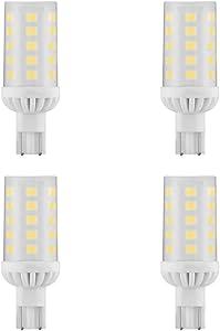 Makergroup T5 T10 Wedge Base 921 912 12V LED Light Bulbs 4W Natural White 4000K for RV Camper Travel Tailer Boat Marine Lights and Outdoor Landscape Deck Stair Step Path Lights 4-Pack