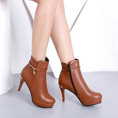 Fashion UK4 US6 Dress CN36 Red Ankle Leatherette Toe Cone Winter Women'S Shoes RTRY Brown Casual Boots Boots EU36 Booties Buckle Fall Round Black Boots Heel For USXWq