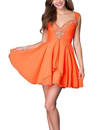 mia Orange Cocktailkleider Mini linie Partykleider Steine Chiffon Promkledier A Viel Braut Anmutig Farbe La Cwqd144