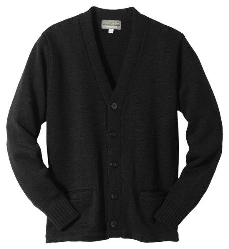 Ed Garments 383 Men's Heavy Weight V-Neck Pocket Hemmed Cardigan 4XL Black