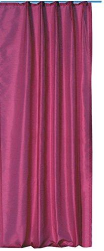 Übergardine Dekoschal halbtransparent Wildseide Optik Vorhang Kräuselband Gardine moderne Unifarbe B/H ca. 140x245 cm #1136 (fuchsia)