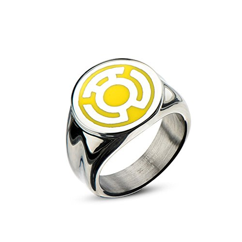DC Comics Green Lantern Stainless Steel Yellow Enamel Inlay Sinestro Corps Fear Ring