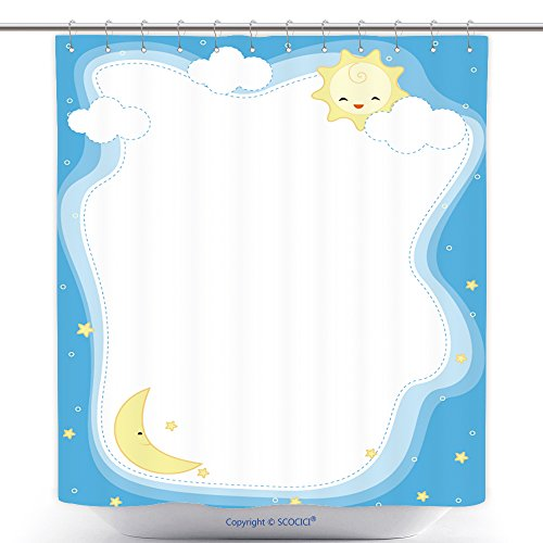 Stylish Shower Curtains Cute Sun And Moon Border Frame Background For Greeting Cards Invitations 253253308 Polyester Bathroom Shower Curtain Set With Hooks