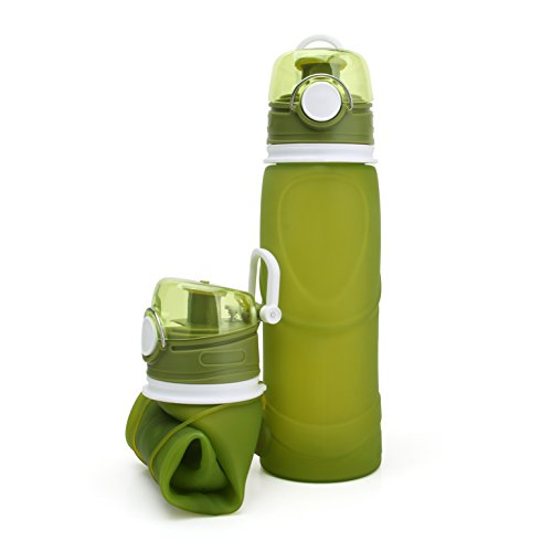 (Collapsible Silicone Water Bottles, Medical Grade, BPA Free, FDA Approved, 750ML Leak Proof Foldable Sports Outdoor Water Bottles Sports Hiking Camping Cup (Green))